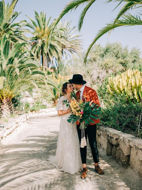 Newlyweds Under Palm Trees