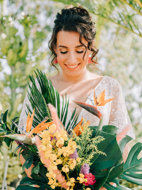 Bride with Tropical Bouquet