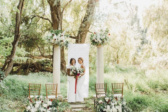 Newlyweds at Altar