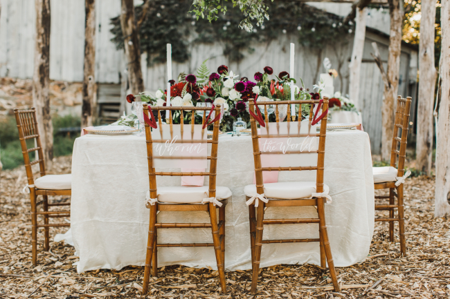 Sweetheart Table Chairs with Signage