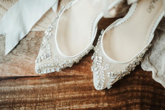 White Heels with Beading
