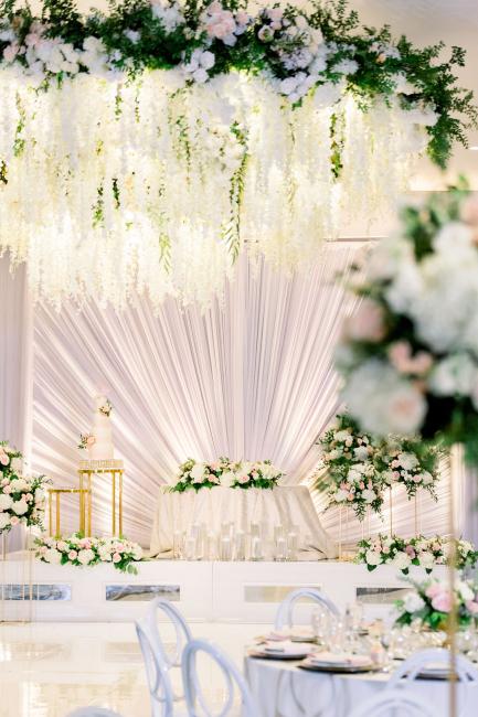 floral chandelier at reception