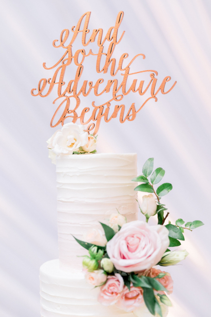 """cake topper reading, """"And so the Adventure Begins"""""""
