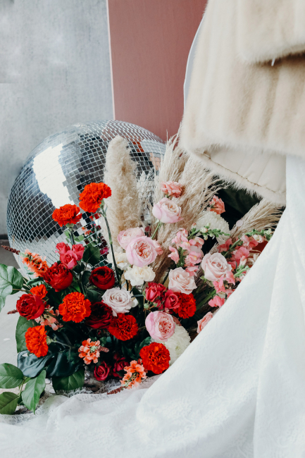 ceremony florals and disco ball