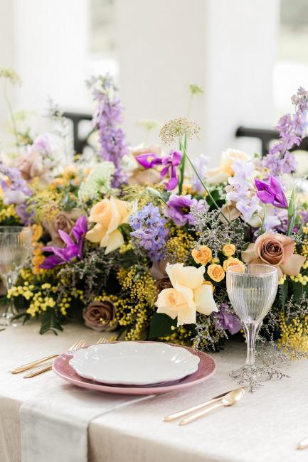 Purple & Yellow Table Setting