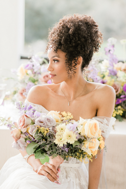 Beautiful Bride Holding Yellow & Lilac Bouquet