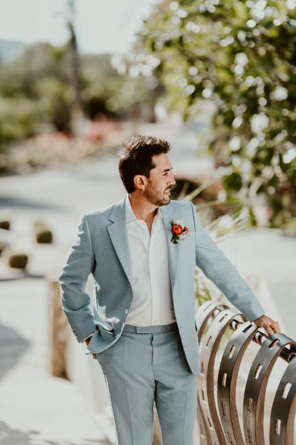 Groom in Light Blue Suit
