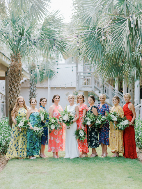 Bridesmaids in Colorful Floral Dresses