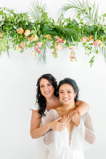 Brides smiling