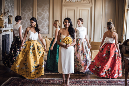 Bridesmaids in Colorful Colombian Wedding