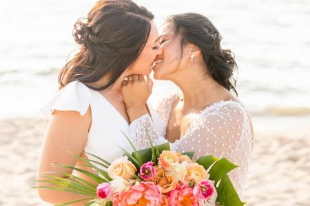 Brides embracing