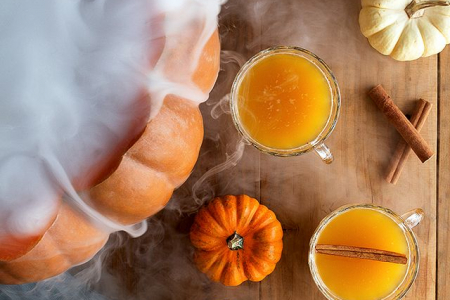 Spiced rum in a real smokey pumpkin